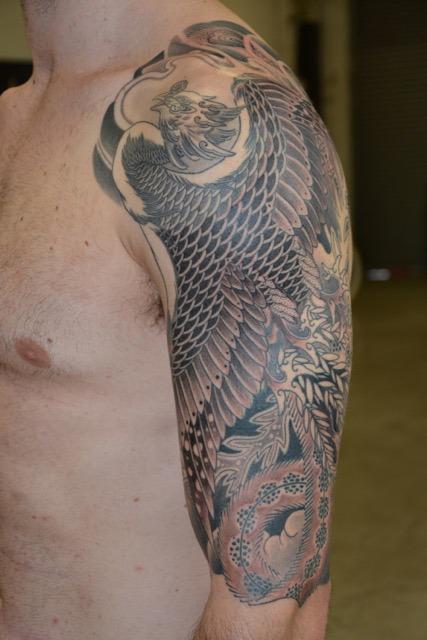 Nathan Puata - black and grey Phoenix - upper arm