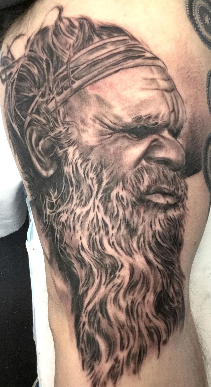 Nathan Puata - Black and grey aboriginal tattoo