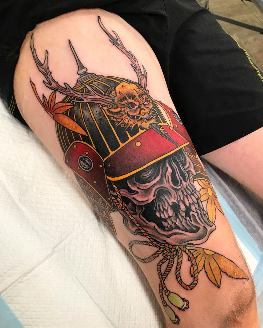 ryan-ussher-skull-helmet-japanese-tattoo