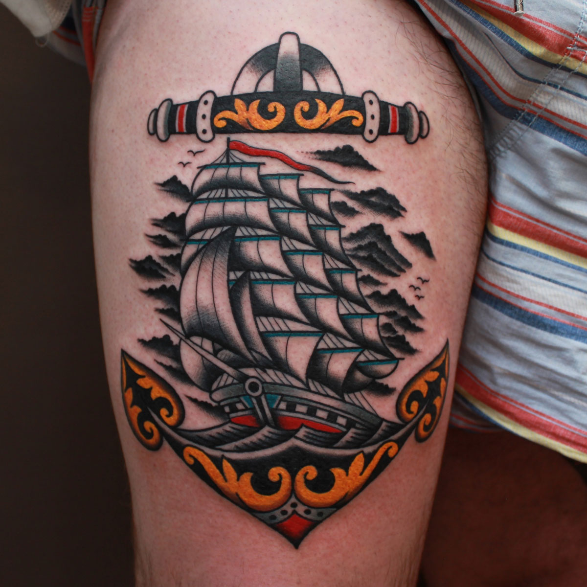 Vic James - nautical ship tattoo