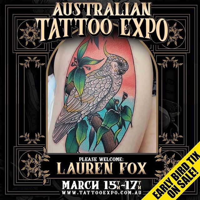 @laurenfoxtattoo will be heading along with the @lighthouse_tattoo crew to the @austattooexpo this year!! . Early bird tickets are on sale now for 15-17th March. Head to www.tattooexpo.com.auto grab yours!! See you all there! . FOR BOOKINGS w: lighthousetattoo.com.au : contact@lighthousetattoo.com.au ️: (+61 2) 9316 4565